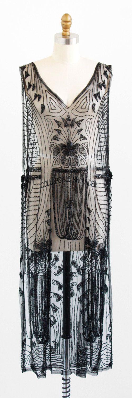 vintage 1920s dress / 20s flapper dress / Black Beaded Sheer Tabard Over Dress https://www.etsy.com/shop/RococoVintage