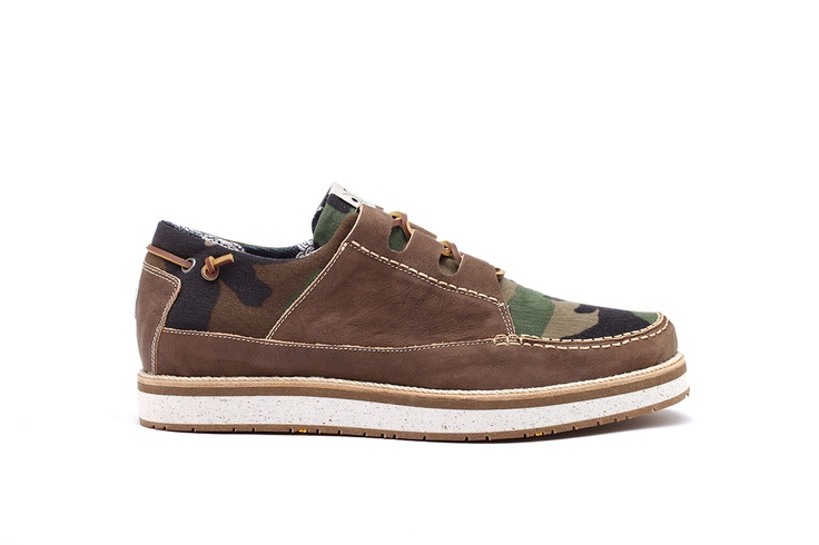 YOU FOOTWEAR - BROWN CAMO SAIL - A sail shoe that evokes the classic boat-shoe models, Naturally tanned cowhide leather, vintage recycled camouflage fabri, leather laces,  Lining Material Bandana Printed Fabric (100% cotton), Leather insole, VIBRAM sole, midsole realized in recycled EVA, a flexible and elastic rubber, that is resistant and ultra-light, Logo insert on back panel. Fits true to size. Made in Italy