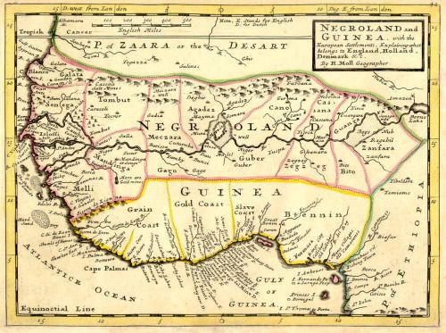 Negroland and Guinea, Slave Coast, 1729. WHERE THE NAME NEGRO CAME FROM, THIS WAS THE PLACE THE SLAVES WERE TAKEN CAPTIVE. THE INHABITANTS OF NEGROLAND WERE HEBREWS