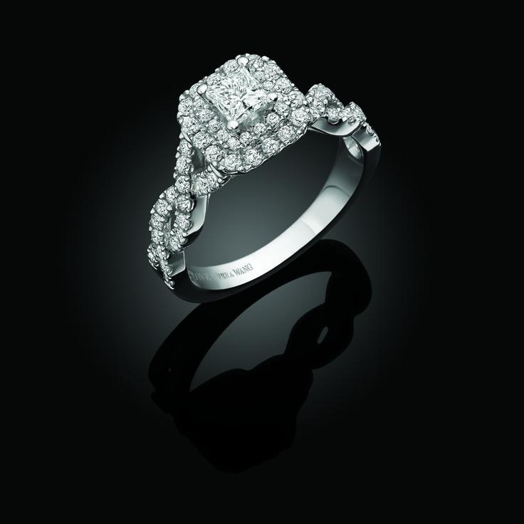 Vera Wang Love princess cut diamond set shoulders ring