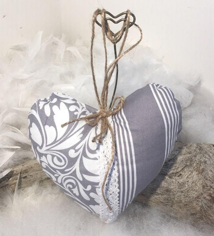 """Coeur tissu gris perle """" fait main """"... : Accessoires de maison par mode2filles"""
