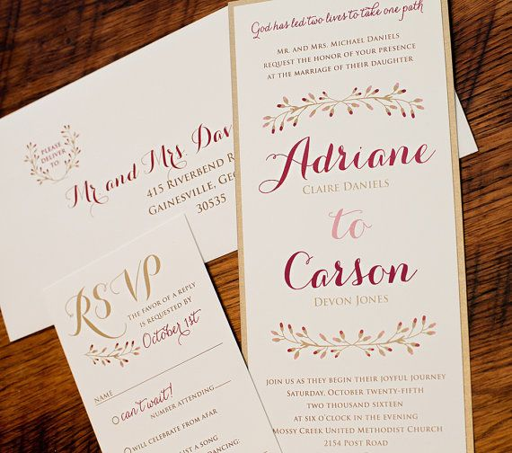 Marsala and Gold Wedding Invitation with pretty calligraphy fonts and gold metallic backer.  Pretty for a fall wedding.  by TigerLilyInvitations
