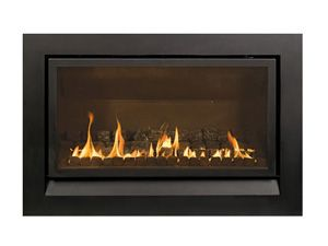 Australian made with option of logs, pebbles or coals: Heatmaster Enviro Gas Fireplace.