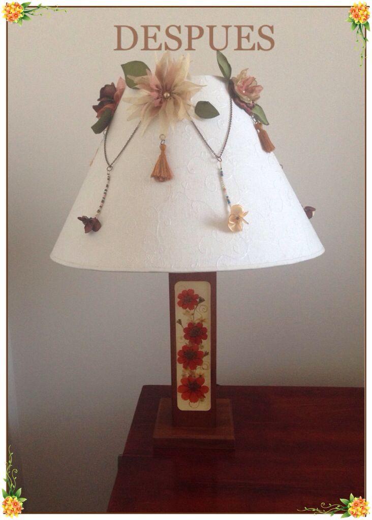 Lámpara con aplicaciones de Flores de tela