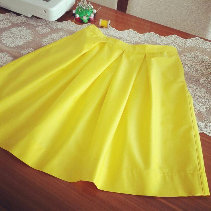 Sarı renk etek #etek #dikiş