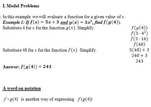 Composition of Functions of worksheet (pdf) and Answer Key 25
