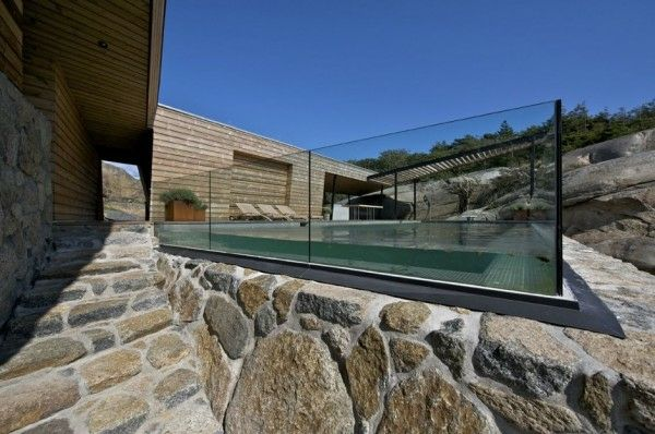 stone path with pool, glass fences