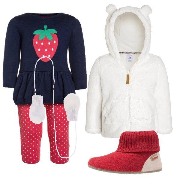 Ho abbinato questa tutina con simpatici pois e decorata da una fragolina ad una felpa bianca con cappuccio, delle scarpine rosse e dei guanti bianchi.