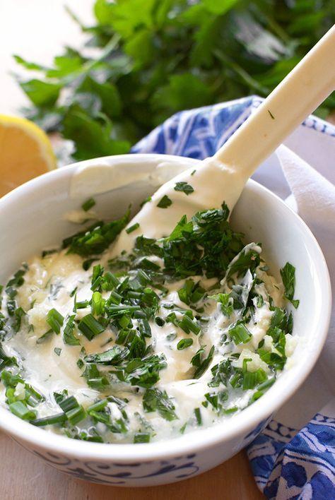 Mixing Lebanese Garlic Sauce