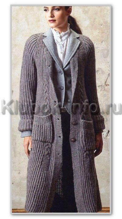 Вязание спицами. Однотонное длинное пальто-реглан на пуговицах и берет. Размеры: 42/44, 46/48