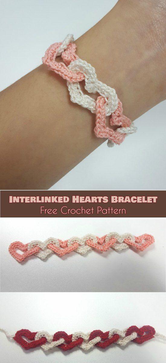 Interlinked Hearts Bracelet [Free Crochet Pattern] Interlocking Hearts Stitch, Linked Hearts Stitch