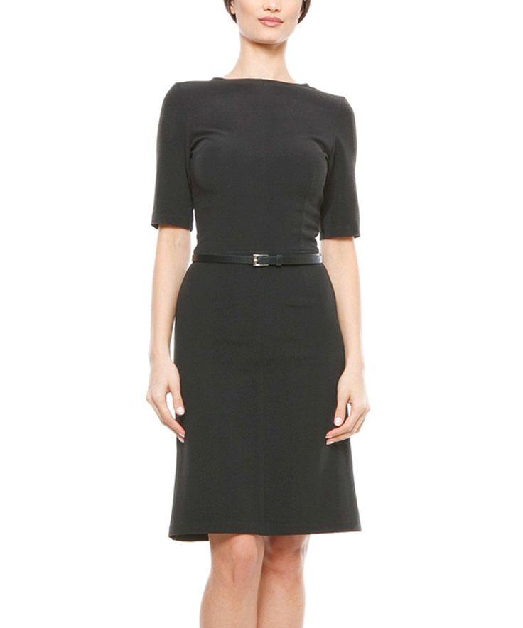Look at this Lisa Moretti Black Belted Sheath Dress on #zulily today!
