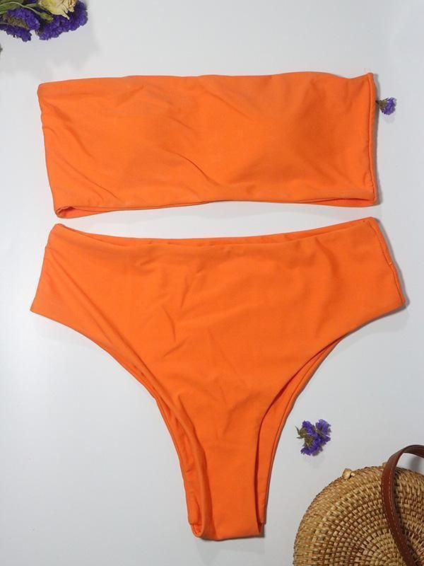 Dovechic Solid Bandeau High Cut Bikinis Bademode   – Bikini Fashion