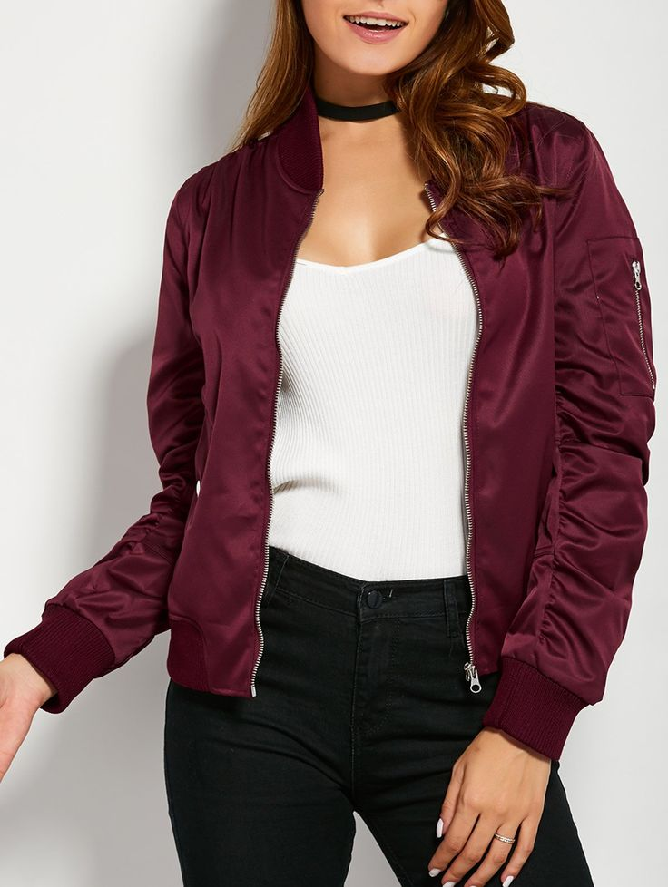 $27.99 for Pockets Bomber Jacket BURGUNDY: Jackets & Coats | ZAFUL