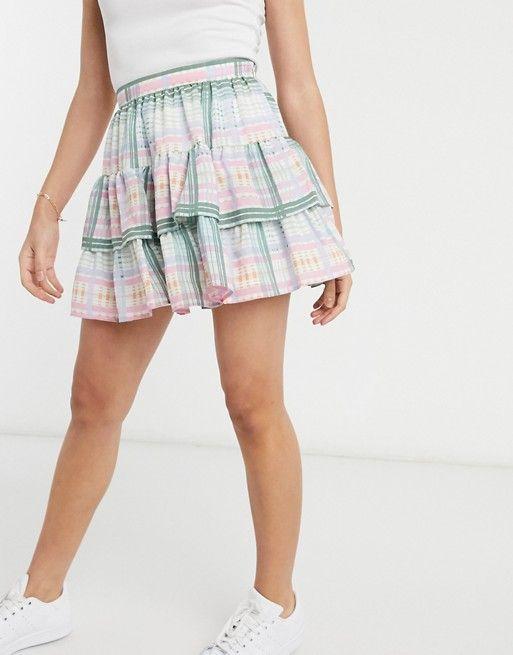 Asos Design Ruffle Mini Skirt In Check Print Asos In 2020 Mini Skirts Asos Designs Skirts