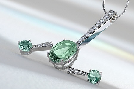 18 ct white gold and prasiolite pendant and earrings