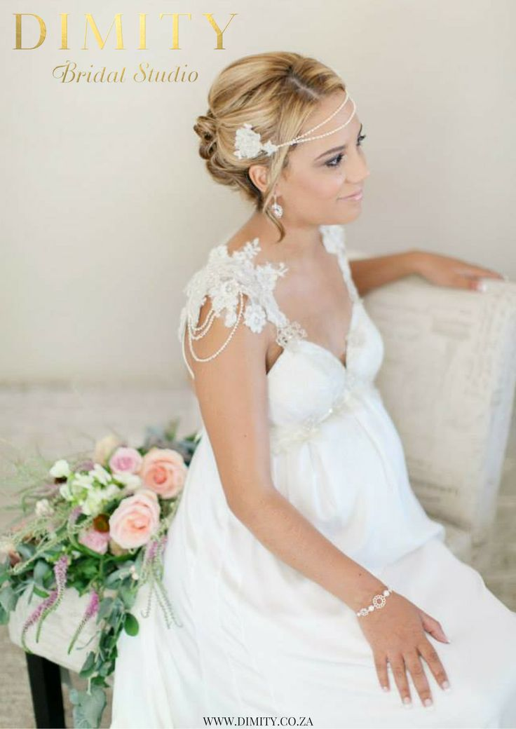 Beautiful Christill in her bespoke Dimity gown with empire line and lace shoulder detail. Her look is finished off with a custom Dimity hair piece.