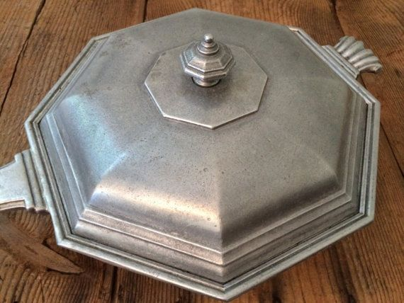 """Vintage International Silver Craftmetal """"Pewter"""" Covered Octagonal Chafing Dish Serving Dish with Handle https://www.etsy.com/listing/243433347/vintage-international-silver-craftmetal?ref=shop_home_active_11"""