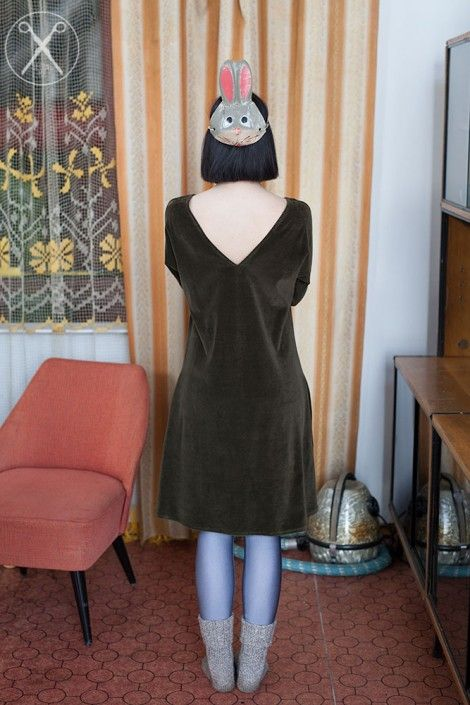 Dark Olive Green velour bell shaped dress | A/W 15/16 | Second ME | www.secondme.eu