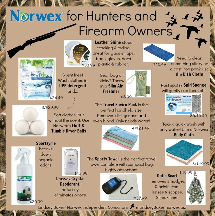 Norwex for Hunters and Firearm Owners! Does your man love to hunt, shoot sporting clays, or camp? Check out these ideas for him! https://www.facebook.com/lindseybaker.greenliving/