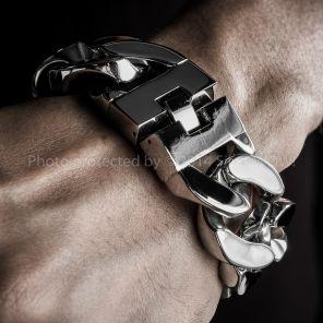 Huge Mens Stainless Steel Bracelet. 30mm Wide & Super Thick @ Heavy Stainless Steel Bracelet - Curb Links