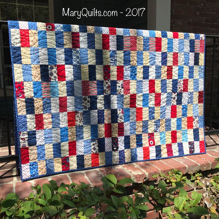 Rectangles in Red, White, and Blue - by Mary Johnson / MaryQuilts