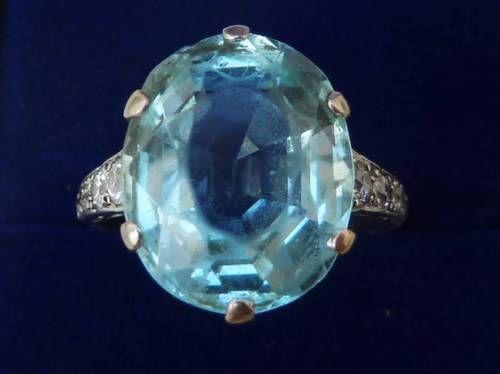 Deslumbrante-platina-solida-Art-Deco-12ct-Aquamarine-E-1-2ct-Anel-de-diamante