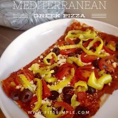 21 Day Fix Approved Mediterranean Pizza  1 Yellow - Crust of your choice .5 Purple - Pizza Sauce 1 Green - Banana Peppers and Tomatoes 1 Blue - Feta Cheese 1 Orange - Olives // 21 Day Fix // fitness // fitspo // workout // motivation // exercise // Meal Prep // diet // nutrition // Inspiration // fitfood // fitfam // clean eating // recipe // recipes