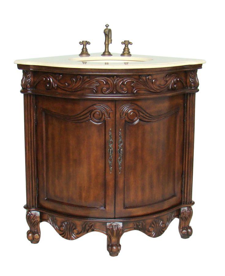 Bay View Adelina 24 Inch Corner Antique Bathroom Vanity Light Walnut Finish Is Corner Unit
