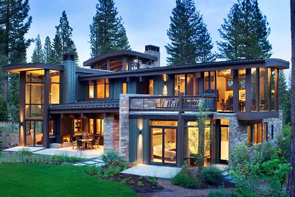 Modern rustic home nestled high in the sierra mountains for Modern rustic home plans