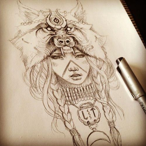 wolf headpiece tattoos - Google Search