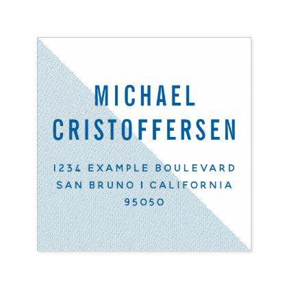 Modern Typography Blue Geometric Return Address Self-inking Stamp - modern gifts cyo gift ideas personalize