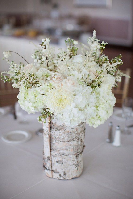 White Birch Sleeve Wedding Centerpiece / http://www.deerpearlflowers.com/rustic-wedding-centerpieces-with-bark-container/