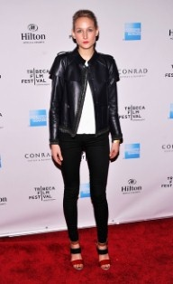 Leelee Sobieski cuts a dash in simple skinny jeans paired with a tough leather jacket and sandals to the film festival's awards.