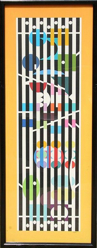 Artist: Yaacov Agam; Title: Menorah Series 2; Medium: Serigraph. From auction website Invaluable.