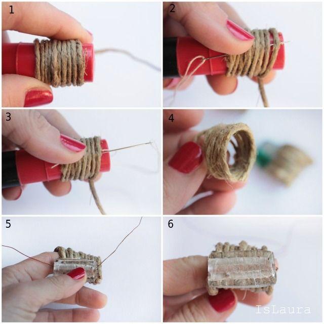 come-fare-anelli-con-lo-spago-e-vetri-di-Murano