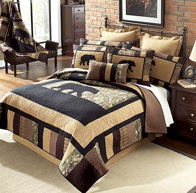 The Camo Bear Quilt Collection is a blend of modern day quilting technics with a rustic, outdoors theme. The ever popular black bear sits on top of an oak camouflage pattern.