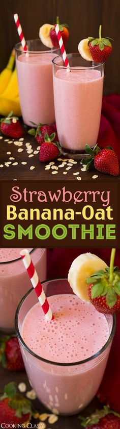 Strawberry Banana Oat Smoothie - my whole family LOVES this smoothie! It's creamy, filling, refreshing and it's perfectly delicious!