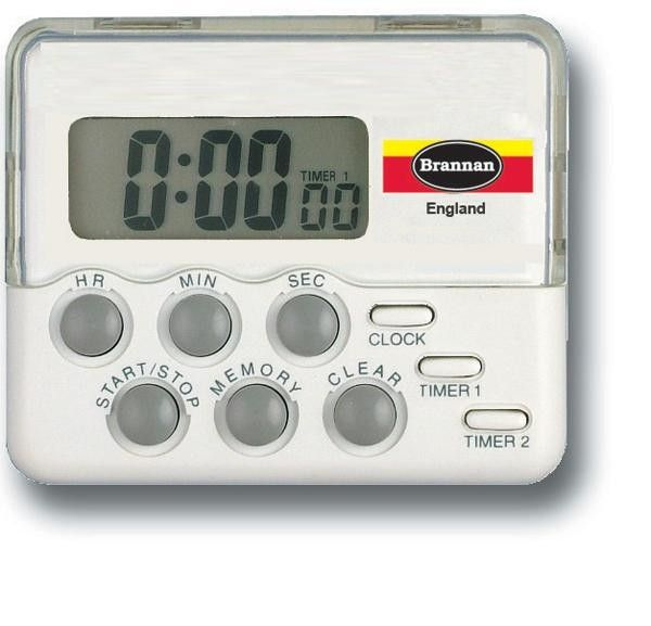 Dual Timer and Clock. An essential tool for the kitchen to monitor cooking and baking times easily.