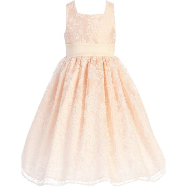 Blush Pink Satin Spring Dress with Burnout Organza Overlay (Baby,... ($91) ❤ liked on Polyvore featuring dresses, tea length cocktail dresses, satin cocktail dress, sleeveless dress, satin dress and tea length dresses