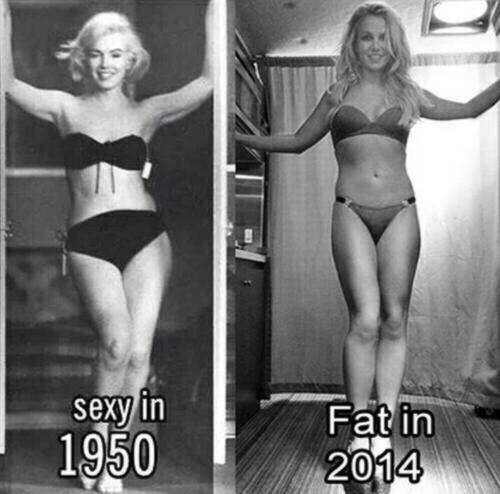 Hate the stereotype of what's fat both are beautiful Marilyn Monroe & Britney Spears