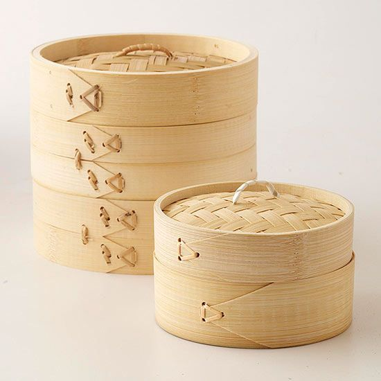 Decorate with Bamboo Steamers...Inexpensive bamboo steamers can serve double duty at your party: They're an easy way to cook, and they make pretty table decorations. You can find bamboo steamers online or at Asian grocery stores for less than $20.
