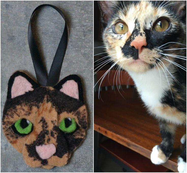 Custom Felt Cat Ornament - Small by DashAndTheOrangeBus on Etsy https://www.etsy.com/listing/491385455/custom-felt-cat-ornament-small