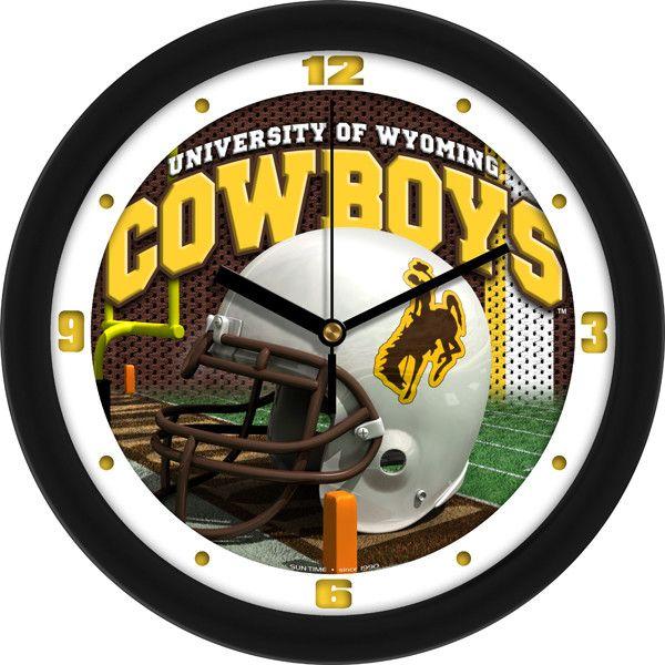 Mens Wyoming Cowboys - Football Helmet Wall Clock