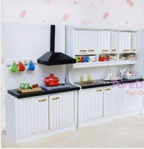 18 inch doll kitchens | Dollhouse Miniature Kitchen Dining Furniture Set Cabinet w Basin ...