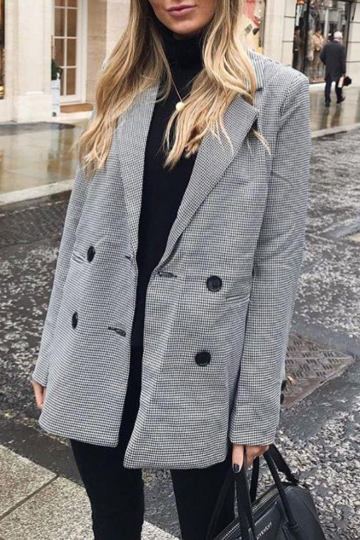 Casual Blazer Avec Grise Automnehiver Chic Une Veste Femme Mode À QeWxdorBC