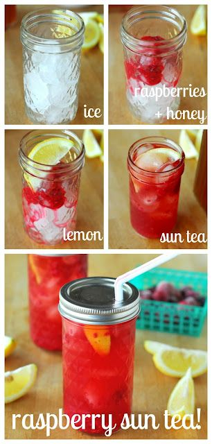 Homemade raspberry sun tea- my latest favorite thing to drink during the summer!