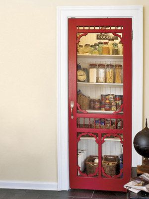 This has been one of my favorite small pantry ideas for several years now. love the red screen door