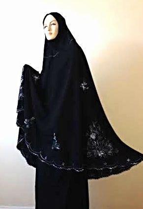 Telekung Black 2 piece Lush Muslim Prayer Wear Long Hijab Khimar Umra Mukena - DesertDress