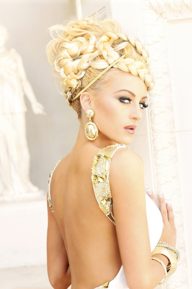 """Miss Connecticut USA 2012, Marie-Lynn Piscitelli, poses for fashion photographer Fadil Berisha at the """"Gardens of Goddess"""" photo shoot at Caesar's Palace Las Vegas Hotel & Casino pool. Tune in to NBC, June 3 at 9PM EST for the live telecast of the #nbcctpinandwin 2012 Miss USA Competition to see who takes home the Diamond Nexus crown."""